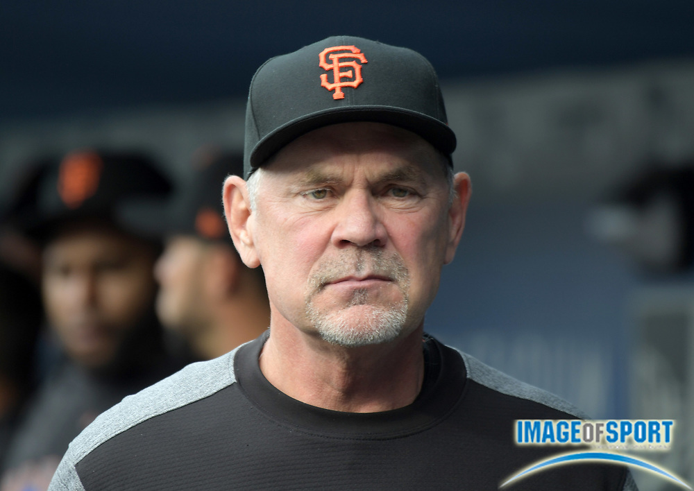 Apr 1, 2018; Los Angeles, CA, USA; San Francisco Giants manager Bruce Bochy (15) reacts during a MLB baseball game against the Los Angeles Dodgers at Dodger Stadium.The Dodgers defeated the Giants 9-0.