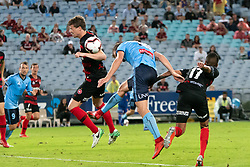 December 15, 2018 - Sydney, NSW, U.S. - SYDNEY, NSW - DECEMBER 15: Sydney FC defender Jacob Tratt (18) heads the ball in for a goal at the Hyundai A-League Round 8 soccer match between Western Sydney Wanderers FC and Sydney FC at ANZ Stadium in NSW, Australia on December 15, 2018. (Photo by Speed Media/Icon Sportswire) (Credit Image: © Speed Media/Icon SMI via ZUMA Press)