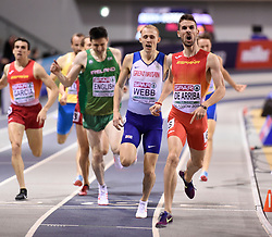 Spain's Alvaro de Arriba celebrates as he crosses the line to win gold with Great Britain's Jamie Webb behind winning silver in the Men's 800m final during day three of the European Indoor Athletics Championships at the Emirates Arena, Glasgow.