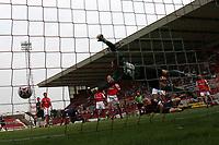 Photo: Lee Earle.<br /> Swindon v Southend. Coca Cola League 1.<br /> 10/09/2005. Swindon keeper Tom Heaton fails to keep out Southend's Adam Barrett's goal.