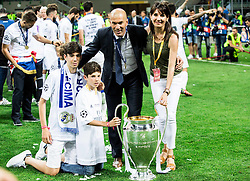 Zinédine Zidane, head coach of Real Madrid and his family celebrate after winning during football match between Real Madrid (ESP) and Atlético de Madrid (ESP) in Final of UEFA Champions League 2016, on May 28, 2016 in San Siro Stadium, Milan, Italy. Photo by Vid Ponikvar / Sportida