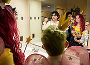 Residents of gender-neutral housing take selfies together in on of their house's (nongendered) restrooms on Halloween.<br /> <br /> Since 2021, Ohio University has offered students who are looking to live in a nongendered space the option of gender-neutral housing.