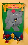 Pinio Urodzinio an elephant with hats for recognizing pupils birthdays. Rainbow Preschool Balucki District Lodz Central Poland