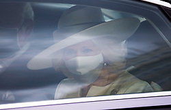 © Licensed to London News Pictures. 11/05/2021. London, UK. Camilla, Duchess of Cornwall travels through Westminster to attend The State Opening of Parliament at the Houses of Parliament. Photo credit: Ben Cawthra/LNP