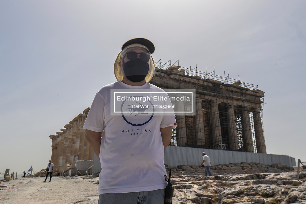 Pictured: <br /> The ancient Acropolis in Athens has reopened to the public today.  The vast site has restricted visitor numbers to 2,000 to enable appropriate social distancing to be in operation. It is noticable that all staff are wearing marks the visitors are not.<br /> <br /> Dimitris Lampropoulos  | EEm 18 May 2020