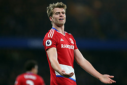 8 May 2017 - Premier League Football - Chelsea v Middlesbrough<br /> Patrick Bamford of Boro argues with the decision of the referee<br /> Photo: Charlotte Wilson
