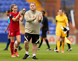 BIRKENHEAD, ENGLAND - Sunday, August 29, 2021: Liverpool manager Matt Beard applauds the supporters after the FA Women's Championship game between Liverpool FC Women and London City Lionesses FC at Prenton Park. London City won 1-0. (Pic by Paul Currie/Propaganda)