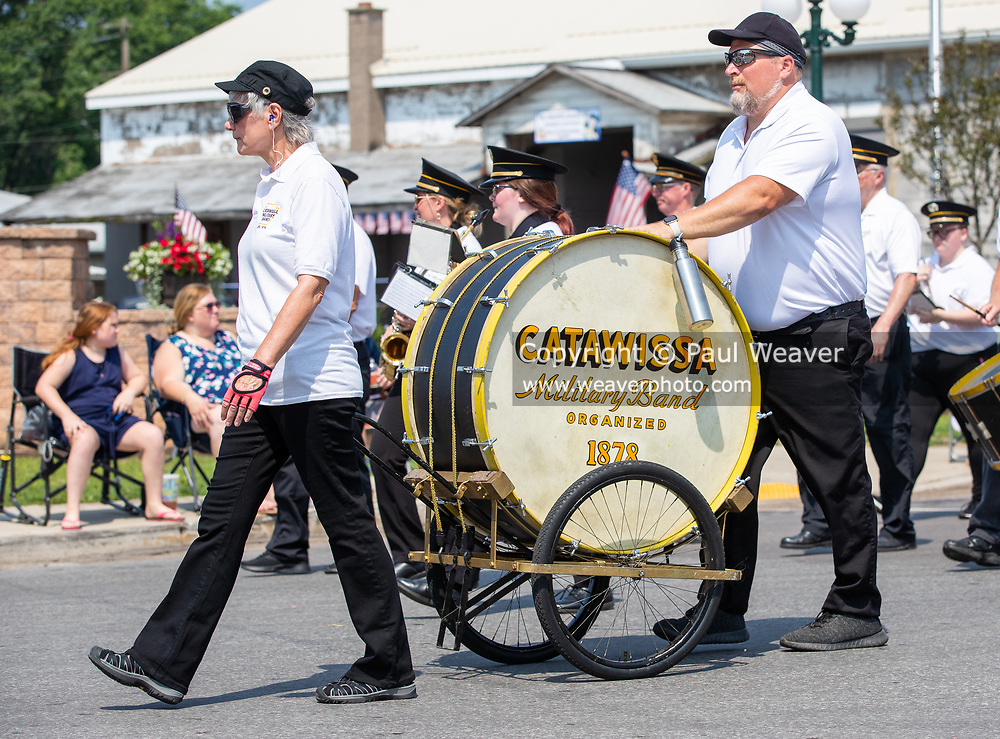 Members of the Catawissa Military Band march in the Independence Day parade.
