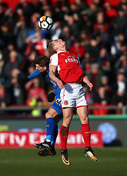 Leicester City's Sebastien Adrien Silva and Fleetwood Town's Kyle Dempsey battle for the ball during the FA Cup, third round match at Highbury Stadium, Fleetwood