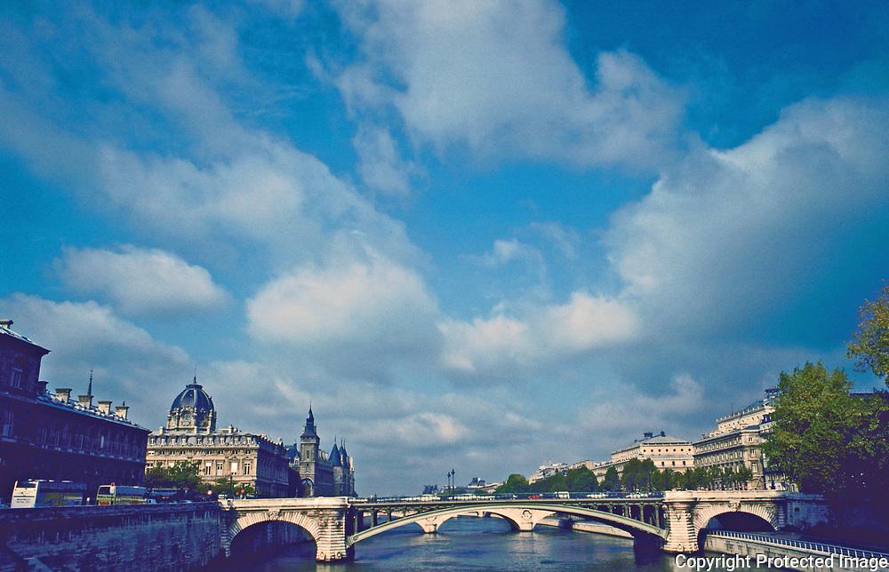 """Pont Notre Dame from Ponte d""""Arcole from the Ile De Le Cite to the Rive Doit, Paris France"""