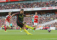 Manchester City's Sergio Aguero scoring his sides second goal during the Premier League match at the Emirates Stadium, London. Picture date: April 2nd, 2017. Pic credit should read: David Klein/Sportimage