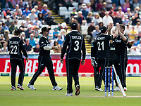 Cricket - 2019 ICC Cricket World Cup - Group Stage: England vs. NZ<br /> <br /> New Zealand celebrate after Mitchell Satner catches to put out Jason Roy from Jimmy Nessham, at the Riverside, Chester-le-Street, Durham.<br /> <br /> COLORSPORT/BRUCE WHITE