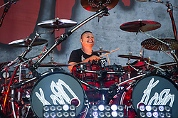 Ray Luzier of Korn performing live on stage on day 3 of Leeds Festival a Bramham Park, UK. Picture date: Sunday 27 August, 2017. Photo credit: Katja Ogrin/ EMPICS Entertainment.