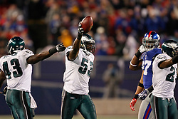 Philadelphia Eagles linebacker Moise Fokou #53 reacts after recovering a fumble during the NFL game between the Philadelphia Eagles and the New York Giants on December 13th 2009. The Eagles won 45-38 at Giants Stadium in East Rutherford, New Jersey. (Photo By Brian Garfinkel)