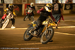 Women's class at the Born-Free 10 Stampede flat track races in the City of Industry where classes ranged from pull start minis, Tank Shift, Vintage Singles & Open Twins, XR 75, ladies, Hooligans and more. Thursday night before the big chopper show June 21, 2018. Photography ©2018 Michael Lichter.