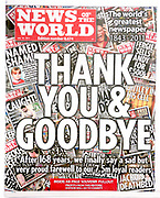 The 'News of the World' Newspaper 10th July 2011. Final issue.