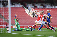 Football - 2021 / 2022 Women's Super League - Arsenal vs Chelsea - Emirates Stadium - Sunday 5th September 2021<br /> <br /> Chelsea FC Women's Erin Cuthbert (out of shot) scores her side's equalising goal to make the score 1-1 .<br /> <br /> COLORSPORT/Ashley Western