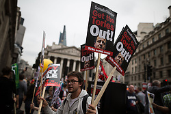 © Licensed to London News Pictures . 20/06/2015 . London , UK . Tens of thousands of people march from the Bank of England to Parliament , to protest economic austerity in Britain . Photo credit: Joel Goodman/LNP