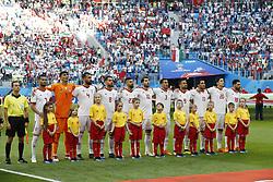 (l-r) Masoud Shojaei of IR Iran, goalkeeper Alireza Beiranvand of IR Iran, Rouzbeh Cheshmi of IR Iran, Morteza Pouraliganji of IR Iran, Ramin Rezaeian of IR Iran, Karim Ansarifard of IR Iran, Ehsan Hajisafi of IR Iran, Omid Ebrahimi of IR Iran, Vahid Amiri of IR Iran, Sardar Azmoun of IR Iran, Alireza Jahanbakhsh of IR Iran
