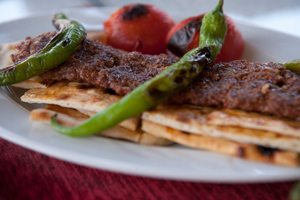 Kofta Kebab with bread , pepers and tomatoes, grilled,