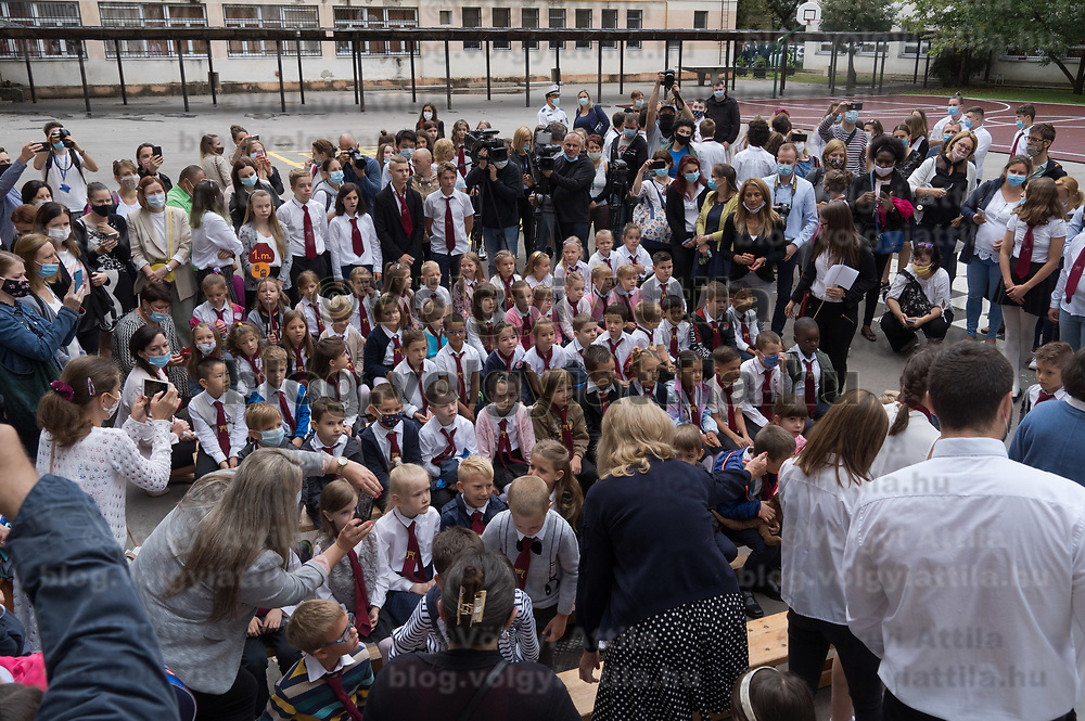 Students attend an opening ceremony on the first day of schol in Budapest, Hungary on Sept. 1, 2020. ATTILA VOLGYI