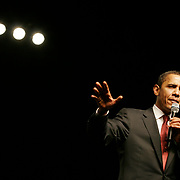Photo by Rebecca Davis<br /> Presidential hopeful, Sen. Barack Obama speaks to the crowd at a fundraising event held at Austin Music Hall Thursday night following the Democratic primary debate.