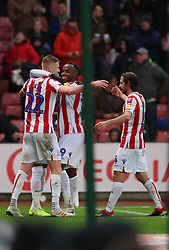Stoke City's Tom Ince (second right) celebrates with team mates after scoring his side's first goal