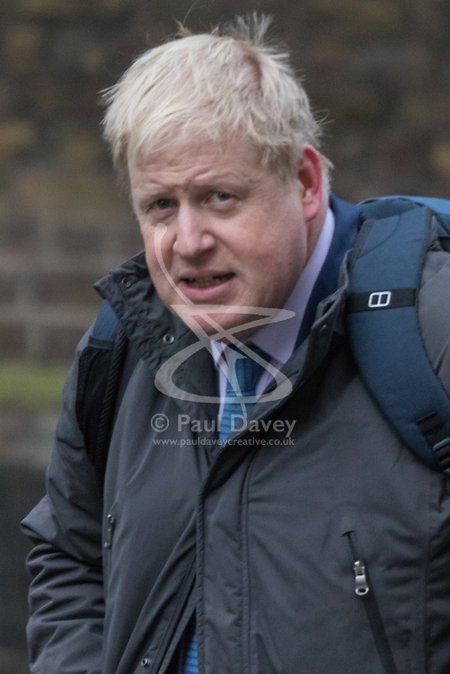 Downing Street, London, February 9th 2016.  Mayor of London and Cabinet member Boris Johnson arrives in Downing Street for the weekly cabinet meeting. ///FOR LICENCING CONTACT: paul@pauldaveycreative.co.uk TEL:+44 (0) 7966 016 296 or +44 (0) 20 8969 6875. ©2015 Paul R Davey. All rights reserved.