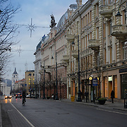 Architecture of Vilnius main street -Gediminas Avenue, Lithuania