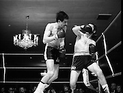 Nash vs Leon Championship Fight.    (N55)..1980..14.12.1980..12.14.1980..14th December 1980..At the Burlington Hotel, Dublin, Charlie Nash defended his European Lightweight Title when he took on Spain's Francesco Leon. .Image shows Leon getting on top as he rocks Nash with a flurry of punches