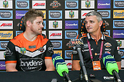 Tigers captain, Chris Lawrence and Coach Ivan Cleary at the post match press conference . Wests Tigers v Sydney Roosters. NRL Rugby League. ANZ Stadium, Sydney, Australia. 10th March 2018. Copyright Photo: David Neilson / www.photosport.nz