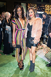 © Licensed to London News Pictures . 23/11/2018. Manchester , UK . Coronation Street actors Victoria Ekanoye and Tisha Merry arrive at an opening event of The Ivy restaurant and bar venue in Spinningfields in Manchester City Centre . Photo credit : Joel Goodman/LNP