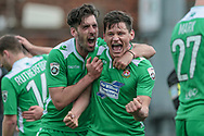 James Jennings (on loan from Cheltenham Town) (Wrexham AFC) celebrates his side scoring a third goal, to make it 3-1 to the visitors during the Vanarama National League match between York City and Wrexham FC at Bootham Crescent, York, England on 17 April 2017. Photo by Mark P Doherty.
