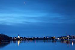 Temple reflection, crecent moon, Snake River, Idaho Falls, Idaho
