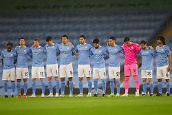 Manchester City players have a minutes silence before the match - Mandatory by-line: Jack Phillips/JMP - 26/12/2020 - FOOTBALL - Etihad Stadium - Manchester, England - Manchester City v Newcastle United - English Premier League
