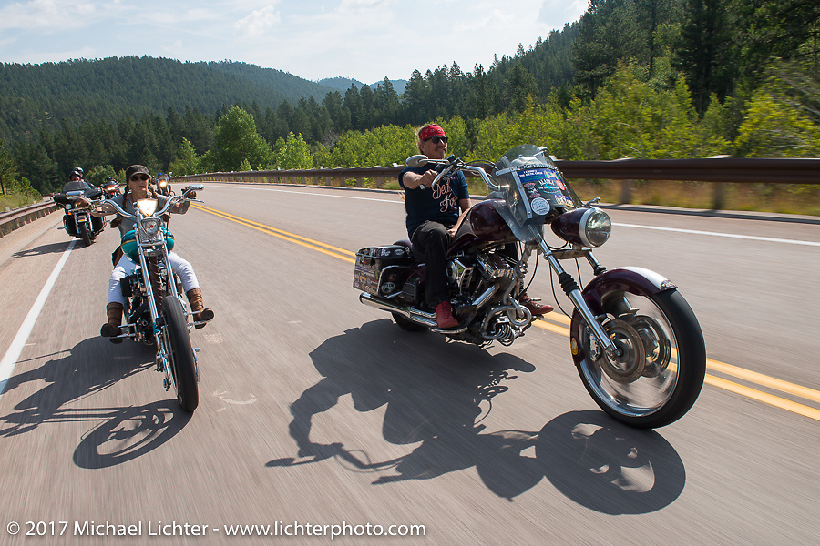 Debi Holmes and the Mayor of Fun Bean're on the Aidan's Ride to raise money for the Aiden Jack Seeger nonprofit foundation to help raise awareness and find a cure for ALD (Adrenoleukodystrophy) during the annual Sturgis Black Hills Motorcycle Rally. Vanocker Canyon between Sturgis and Nemo, SD, USA. Tuesday August 8, 2017. Photography ©2017 Michael Lichter.