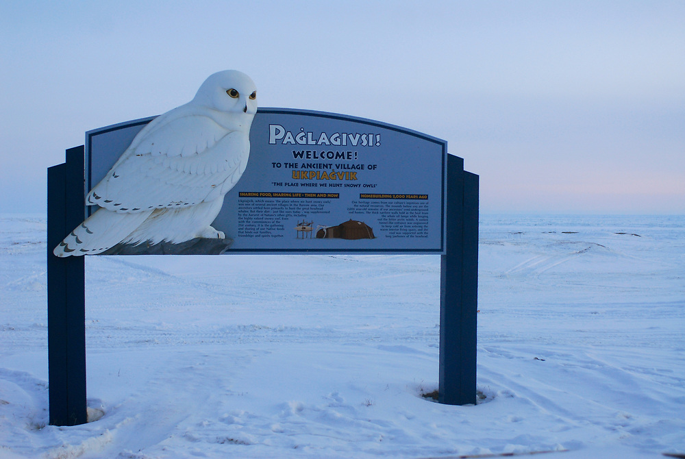 Barrow, Alaska. Welcome sign at the site of the old village of Ukpeagvik .  April 2007.