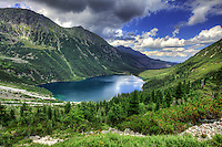 Morskie Oko lake (Eye of the Sea) is located in the Tatra National Park, Poland, at 1405m high and reachable on foot (2h) or by horse (35min). The lake is surrounded by few peaks, Rysy being the highest of them and also the highest point in Poland (2499m).