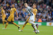 James McClean of West Bromwich Albion © holds off Dele Alli of Tottenham Hotspur (r).Premier league match, West Bromwich Albion v Tottenham Hotspur at the Hawthorns stadium in West Bromwich, Midlands on Saturday 15th October 2016. pic by Andrew Orchard, Andrew Orchard sports photography.
