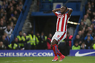 Saido Berahino of Stoke city looks dejected after missing a chance to score.<br /> Premier league match, Chelsea v Stoke city at Stamford Bridge in London on Saturday 30th December 2017.<br /> pic by Kieran Clarke, Andrew Orchard sports photography.