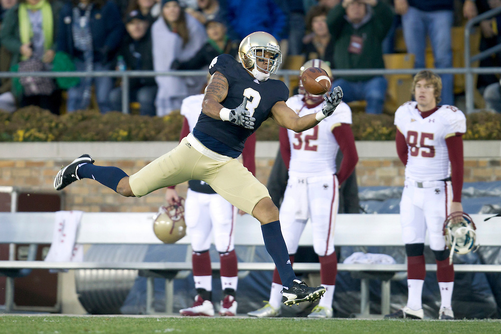 Notre Dame wide receiver Michael Floyd (#3) attempts to catch pass during first quarter of NCAA football game between Notre Dame and Boston College.  The Notre Dame Fighting Irish defeated the Boston College Eagles 16-14 in game at Notre Dame Stadium in South Bend, Indiana.