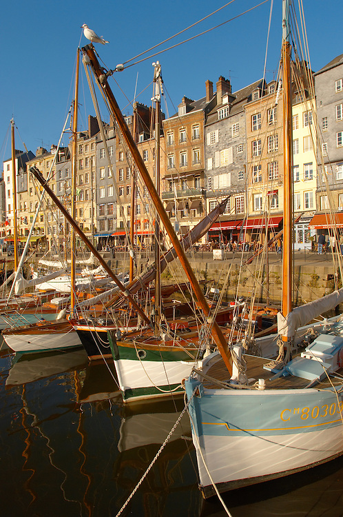 old sail  Fishing boats -  Honfleur harbour, Normandy, France. . Honfleur is especially known for its old port, characterised by its houses with slate-covered frontages, painted many times by artists, including in particular Gustave Courbet, Eugène Boudin, Claude Monet and Johan Jongkind, forming the école de Honfleur (Honfleur school) which contributed to the appearance of the Impressionist movement. .<br /> <br /> Visit our FRANCE HISTORIC PLACES PHOTO COLLECTIONS for more photos to download or buy as wall art prints https://funkystock.photoshelter.com/gallery-collection/Pictures-Images-of-France-Photos-of-French-Historic-Landmark-Sites/C0000pDRcOaIqj8E