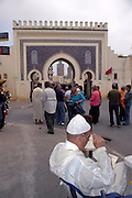 Morocco, Fes, The Blue Gate of Fes.