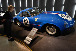 """© Licensed to London News Pictures. 14/11/2017. London, UK.  A Ferrari 250 GT Sperimentale, 1961.  Preview of """"Ferrari: Under the Skin"""", an exhibition at the Design Museum to mark the 70th anniversary of Ferrari.  Over GBP140m worth of Ferraris are on display from private collections including Michael Schumacher's 2000 F1 winning car.  The exhibition runs 15 November to 15 April 2018.  Photo credit: Stephen Chung/LNP"""