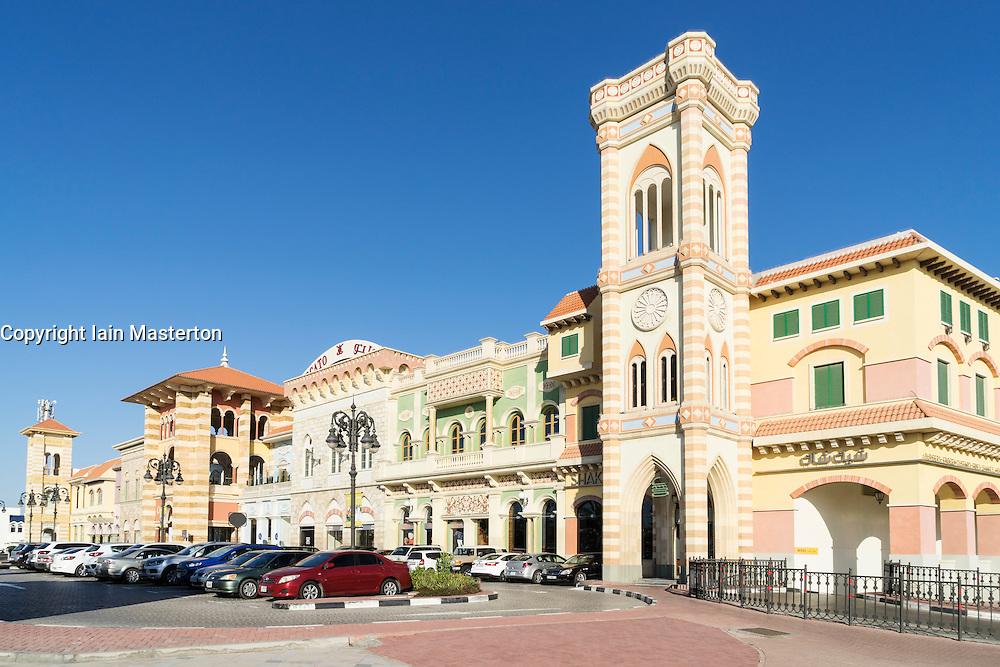 Exterior of Italianate Mercato Shopping Mall in Dubai United Arab Emirates