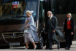 Prince Michael of Kent and Princess Michael of Kent arrive for the wedding of Princess Eugenie to Jack Brooksbank at St George's Chapel in Windsor Castle.