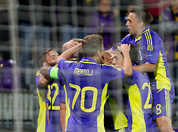 Players of Maribor celebrate during football match between NK Maribor and Panathinaikos Athens F.C. (GRE) in 1st Round of Group Stage of UEFA Europa league 2013, on September 20, 2012 in Stadium Ljudski vrt, Maribor, Slovenia. (Photo By Vid Ponikvar / Sportida)