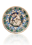 Enamelled terracotta relief panel of the Virgin's adoration of the Child in the presence of the infant Jean the Baptist by Andrea and Giovanni della Robbia, Florence circa 1500.  Inv LP 3410,  The Louvre Museum, Paris. .<br /> <br /> If you prefer you can also buy from our ALAMY PHOTO LIBRARY  Collection visit : https://www.alamy.com/portfolio/paul-williams-funkystock/florentine-enamel-antiquities.html <br /> <br /> Visit our MEDIEVAL ART PHOTO COLLECTIONS for more   photos  to download or buy as prints https://funkystock.photoshelter.com/gallery-collection/Medieval-Gothic-Art-Antiquities-Historic-Sites-Pictures-Images-of/C0000gZ8POl_DCqE