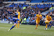 Anthony Pilkington of Cardiff city scores his teams and his 2nd goal from the penalty spot. . Skybet football league championship match, Cardiff city v Preston NE at the Cardiff city stadium in Cardiff, South Wales on Saturday 27th Feb 2016.<br /> pic by  Andrew Orchard, Andrew Orchard sports photography.