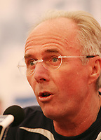 Photo: Chris Ratcliffe.<br />England Press Conference. 08/06/2006.<br />Sven Goran Eriksson addresses the media to tell them not to ask about Wayne Rooney.